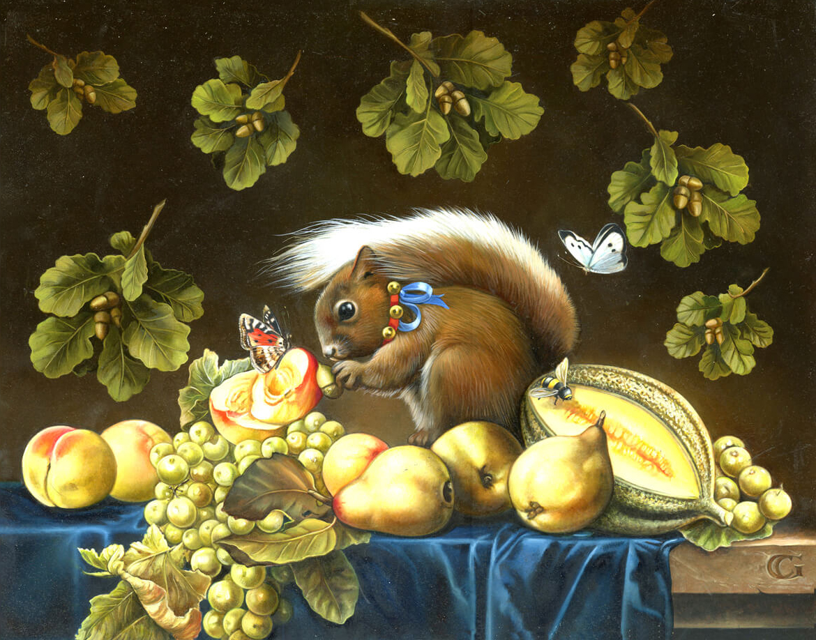 0-STILL LIFE WITH RED SQUIRREL 15 by 11.75 INCHES